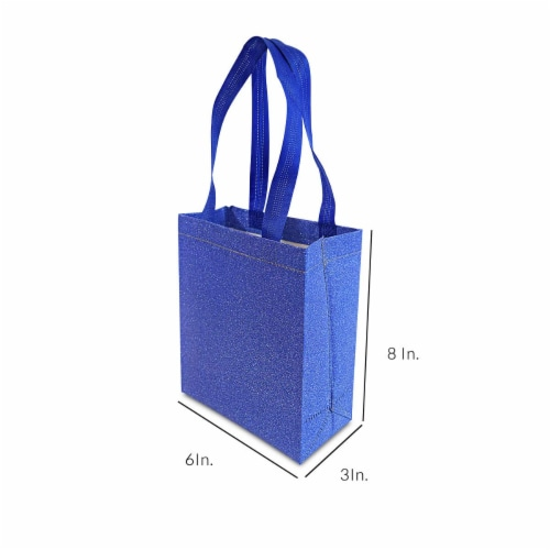 Small Blue Gift Bags with Handles, Reusable Tote, Glitter Metallic Bling Shimmer Perspective: back