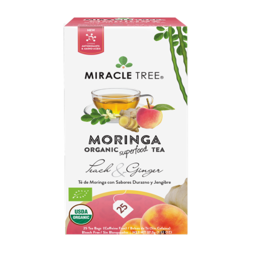 Organic Moringa Superfood Tea Peach & Ginger -- 25 Tea Bags Perspective: back
