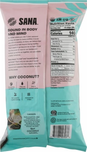 The Real Coconut Sana Sea Salt & Vinegar Coconut Flour Tortilla Chips Perspective: back