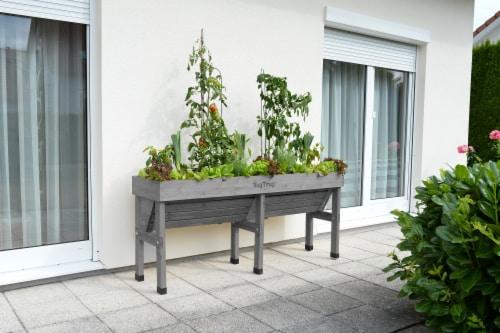 VegTrug Wallhugger Medium Raised Bed Planter - Gray Wash 100% FSC Perspective: back
