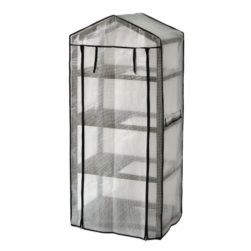 VT Nursery - 4 Tier Wooden Greenhouse FSC 100% Gray Wash (with PE cover) Perspective: back