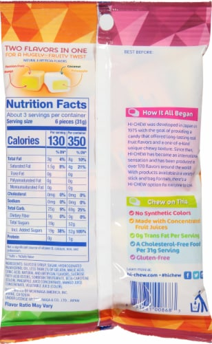 Hi-Chew Tropical Smoothie and Pina Colada Fruit Combos Chewy Candy Perspective: back