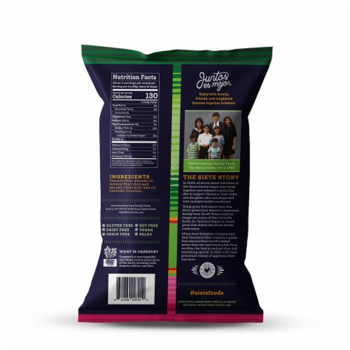 Siete Lime Grain Free Tortilla Chips Perspective: back