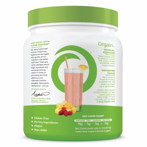 Orgain Organic Vanilla Bean Flavor Protein Plant-Based Powder Perspective: back