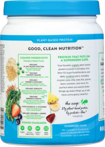 Orgain Organic Protein and Superfoods Plant Based Vanilla Bean Protein Powder Perspective: back