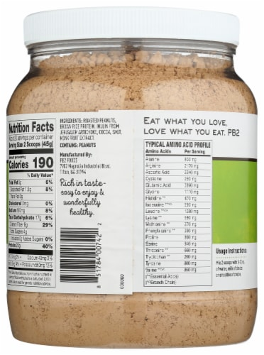 PB2 Performance Peanut with Dutch Cocoa Protein Powder Perspective: back