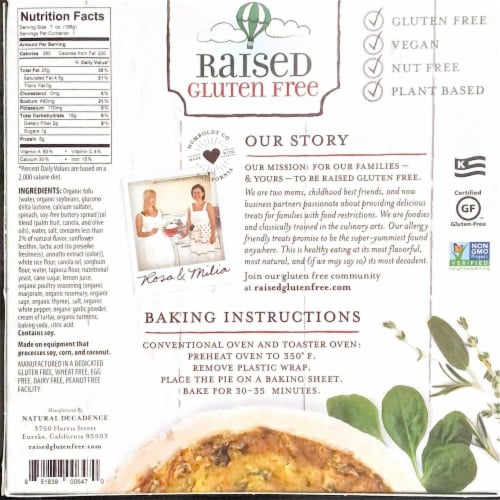 Natural Decadence Raised Gluten Free Vegan Quiche Perspective: back