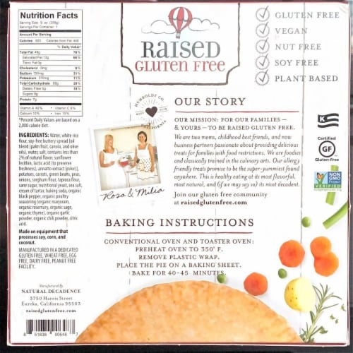 Natural Decadence Gluten Free Vegan Pot Pie Perspective: back