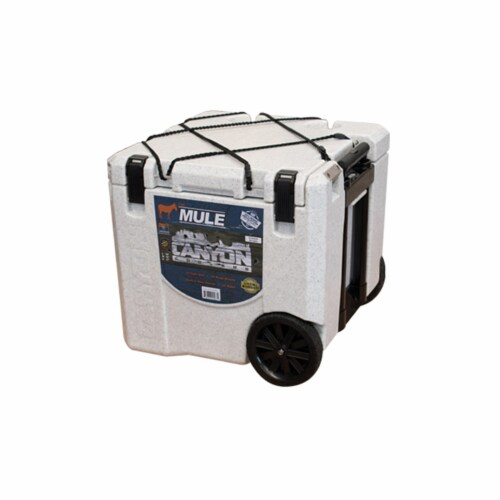 Canyon Coolers Mule 30 Quart 28 Liter Insulated Cooler with Wheels, White Marble Perspective: back
