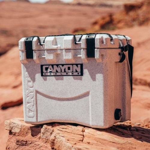 Canyon Coolers Scout 22 Quart 20 Liter Insulated Cooler w/ Ties, White Marble Perspective: back