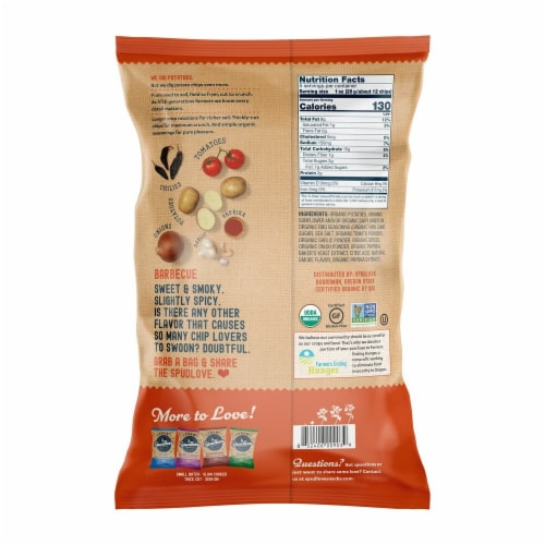 SpudLove Organic Barbecue Thick-Cut Potato Chips Perspective: back