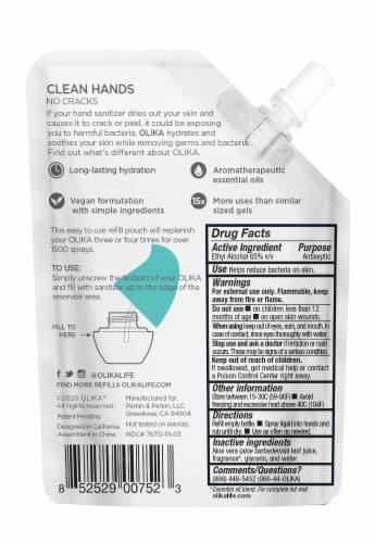 Olika Mint Citrus Hydrating Hand Sanitizer Refill Perspective: back