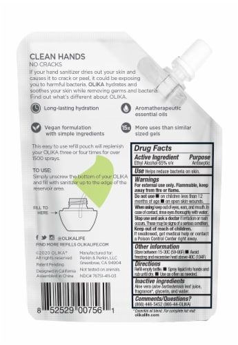 Olika Cucumber Basil Hydrating Hand Sanitizer Refill Perspective: back