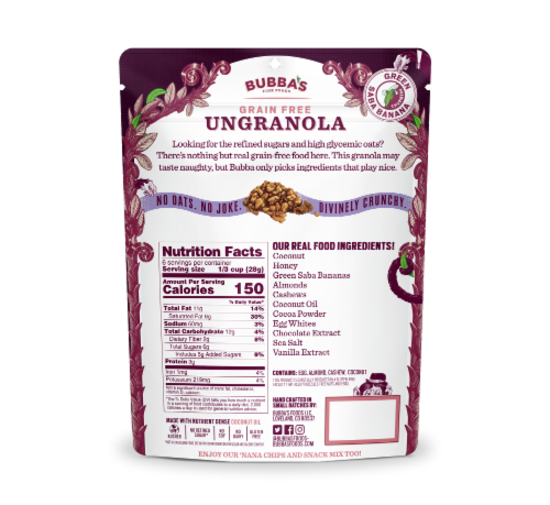Bubba's Fine Foods Dark Chocolate with Sea Salt Grain Free Ungranola Perspective: back