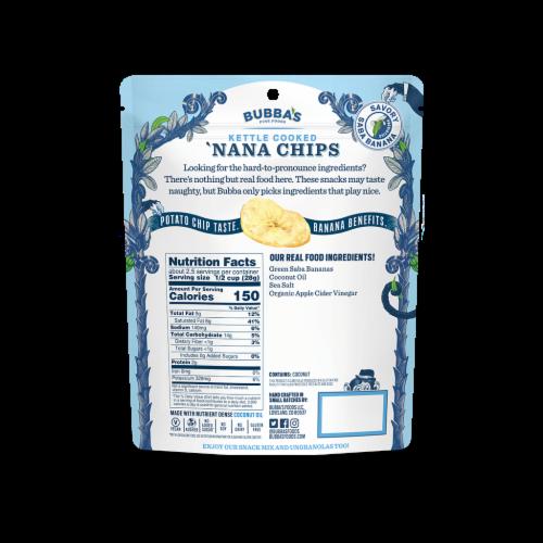 Bubba's Fine Foods, Classic Sea Salt 'Nana Chips Perspective: back