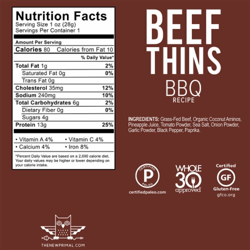 The New Primal BBQ Beef Thins Perspective: back