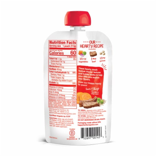 Happy Baby Organic Hearty Meals Vegetable & Beef Medley Stage 3 Baby Food Pouch Perspective: back