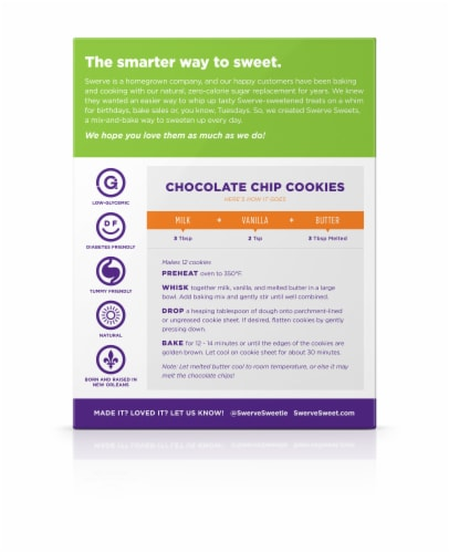 Swerve Sweets™ Chocolate Chip Cookie Baking Mix Perspective: back