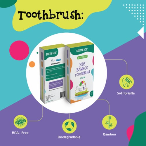 Darlyng & Co Biodegradable Bamboo Toothbrush for Kids | 4 Pack Perspective: back
