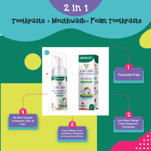2-in-1 Kids Foam Toothpaste + Mouthwash (Strawberry) Perspective: back