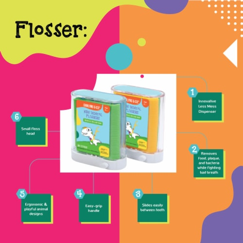 Darlyng & Co Kids Fun Dental Flossers for Healthy Gums Perfect for Age 3+   88 Count Perspective: back