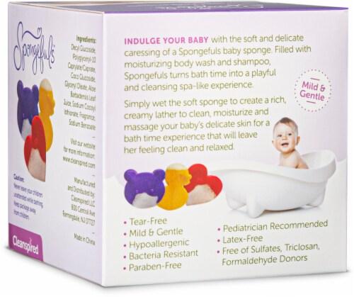 Spongefuls Calming Lavender Gentle Soap-Filled Sponges Perspective: back