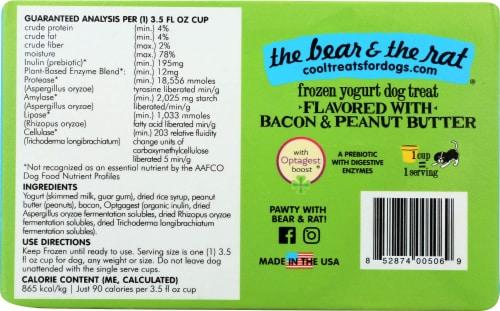The Bear & The Rat Frozen Yogurt Dog Treat - Bacon Peanut Butter Perspective: back