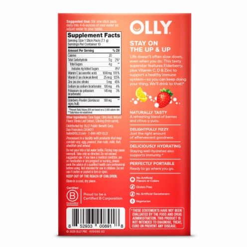Olly Immunity + Elderberry Berry Yuzu Lemonade Powder Supplement Perspective: back