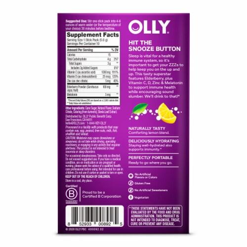 Olly Immunity Sleep + Elderberry Soothing Lemon Powder Supplement Perspective: back