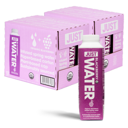 JUST Water Blackberry Infused Organic Fruit Flavored Spring Water 24 Pack (16.9 fl oz) Perspective: back