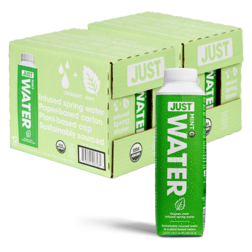 JUST Water Infused Organic Mint Spring Water - Eco-Friendly, 24 Pack (16.9 fl oz) Perspective: back