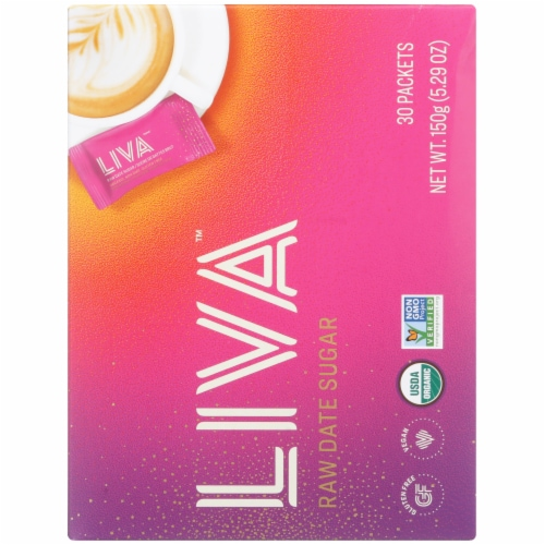Liva Raw Date Sugar Individual Packets Perspective: back