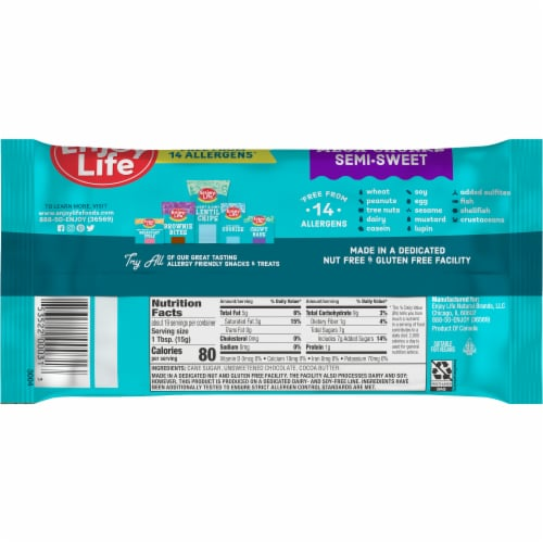 Enjoy Life Gluten-Free Semi-Sweet Chocolate Mega Chunks Perspective: back