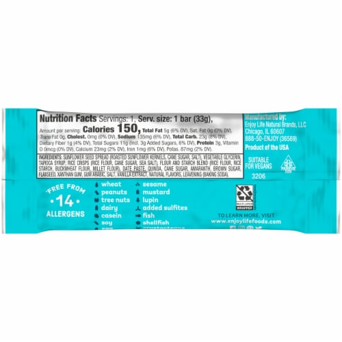 Enjoy Life Gluten-Free Sunseed Crunch Soft Baked Chewy Bars Perspective: back