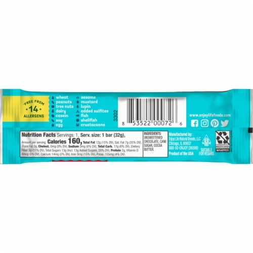 Enjoy Life Gluten-Free Dark Chocolate Bar Perspective: back