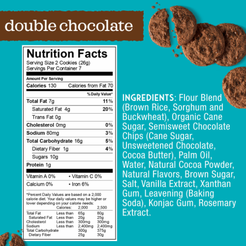 Enjoy Life Gluten-Free Handcrafted Double Chocolate Crunchy Cookies Perspective: back