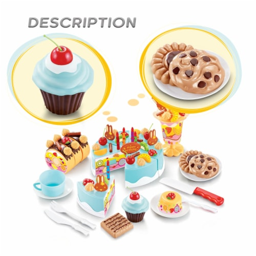 Birthday Cake Play Food Set Light Blue 75 Pieces Plastic Kitchen Cutting Toy Pretend Play Perspective: back