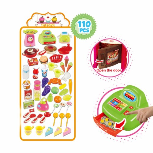 Mundo Toys 110 Piece Kitchen Set For Kids with Mini Supermarket For Girls Perspective: back