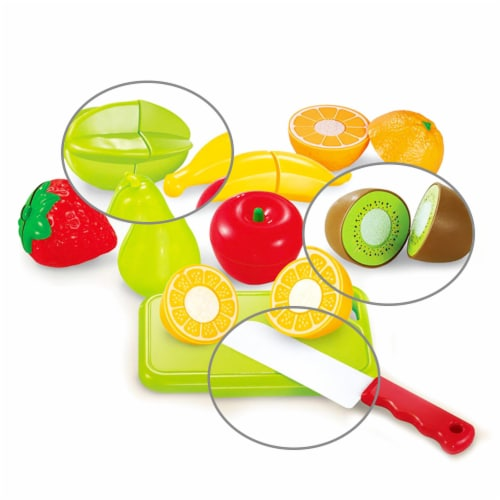 Play Food Set 11 pcs Plastic Cutting Fruits Vegetables w/basket Perspective: back