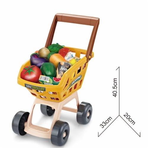 Supermarket Play Set 49 PCS w/Shopping Cart, Cash Register, Scanner, Balance, cut fruits Perspective: back