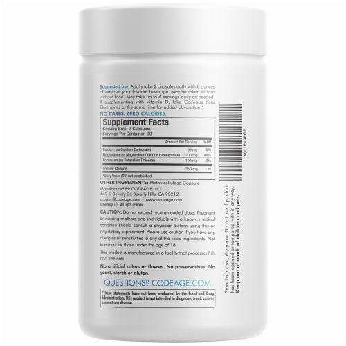 Codeage Keto Electrolytes Dietary Supplement Capsules Perspective: back