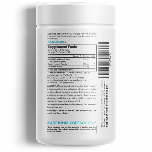 Codeage Keto Carb Blocker Dietary Supplement Capsules Perspective: back