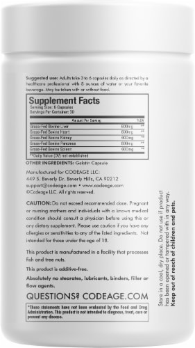 Codeage Grass-Fed Beef Organs Dietary Supplement Perspective: back
