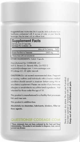 Codeage Grass-Fed Beef Pancreas Dietary Supplement Perspective: back