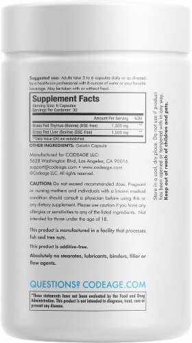 Codeage Grass-Fed Beef Thymus Dietary Supplement Perspective: back