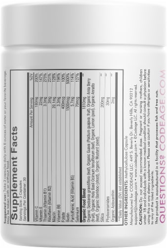 Codeage Vitamins Beauty Tonic Capsules Perspective: back