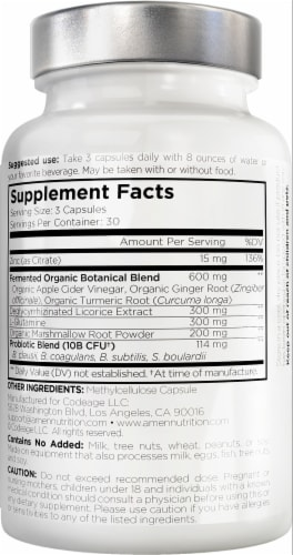 Codeage Amen Leaky Gut Probiotic and Prebiotic Capsules Perspective: back