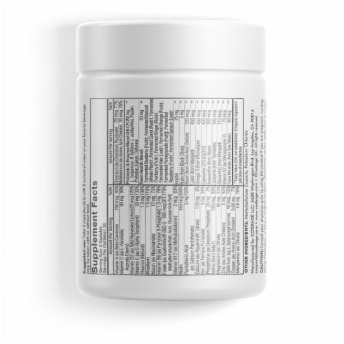 Codeage Daily Teen Fermented Multivitamin Capsules Perspective: back