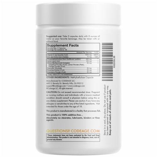 Codeage Liposomal Vitamin C Capsules 1500mg Perspective: back