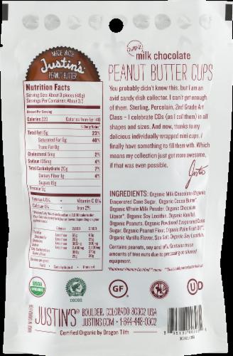 Justin's Organic Mini Milk Chocolate Peanut Butter Cups Perspective: back